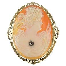 14K Art Deco Filigree Victorian Carved Shell Cameo Pendant/Pin White Gold [QRQX]