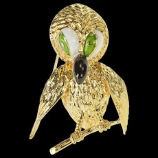 14K Retro Ornate Enamel Stylized Perched Owl Pin/Brooch Yellow Gold  [QWQC]