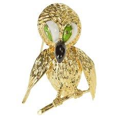 14K Retro Ornate Enamel Stylized Perched Owl Pin/Brooch Yellow Gold [QRQX]