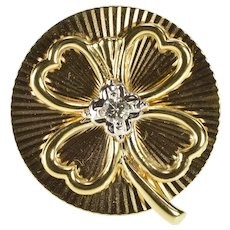 14K Retro Onrate Diamond Solitaire Shamrock Clover Pin/Brooch Yellow Gold  [QWQC]