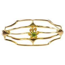 10K Retro Curvy Tiered Design Sim Peridot Fashion Pin/Brooch Yellow Gold [QRQX]