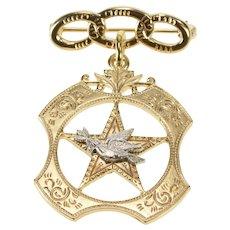 10K Ornate Art Deco Star Dove Dangle Design Pin/Brooch Yellow Gold  [QWQC]