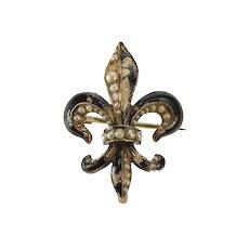 14K Black Enamel Seed Pearl Fleur De Lis Ornate Pin/Brooch Yellow Gold  [QWQC]