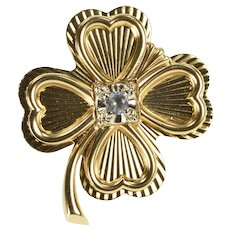 14K 1960's Retro CZ Lucky Pleated Shamrock Clover Pin/Brooch Yellow Gold  [QWQC]