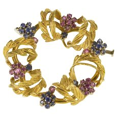 18K 1960's Retro Leaf Wreath Pink Blue Sapphire Pin/Brooch Yellow Gold  [QWQC]