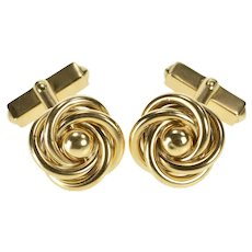10K Ornate Retro Knot Spiral Design Classic Cuff Links Yellow Gold [QRQX]
