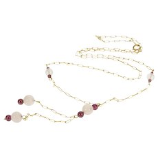 "10K Rose Quartz Amethyst Beaded Ornate Chain Necklace 15.75"" Yellow Gold [QRQX]"
