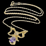"14K 1950's Retro Amethyst Diamond Bow Chain Necklace 18"" Yellow Gold [QRXP]"