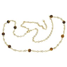 """14K Tiger's Eye Beaded Cable Chain Fashion Ornate Necklace 20"""" Yellow Gold [QRQX]"""