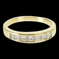 14K 0.85 Ctw Princess Diamond Wedding Band Ring Size 6.75 Yellow Gold [QRQX]