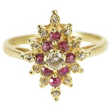 14K 0.50 Ctw Diamond Ruby Halo Cluster Engagement Ring Size 7.75 Yellow Gold [QWQC]