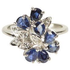 14K 2.95 Ctw Pear Sapphire Diamond Cluster Cocktail Ring Size 6 White Gold [QWQC]