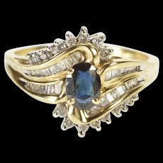 10K 1.60 Ctw Sapphire Diamond Bypass Engagement Ring Size 10.75 Yellow Gold [QWQC]