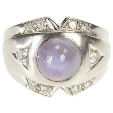 14K 1930's Grey Star Sapphire Diamond Inset Ring Size 5.5 White Gold [QWQC]