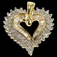 14K 1.00 Ctw Diamond Encrusted Ornate Heart Pendant Yellow Gold [QRXP]