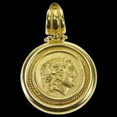 18K Sequani Gauls Celtic Replica Token Ornate Pendant Yellow Gold  [QWQC]