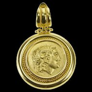 18K Sequani Gauls Celtic Replica Token Ornate Pendant Yellow Gold [QRXP]
