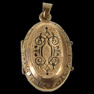10K Victorian Ornate Etched Mourning Locket Pendant Yellow Gold [QRXP]