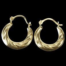 10K Retro Puffy Twist Design Fashion Hoop Earrings Yellow Gold  [QWQC]
