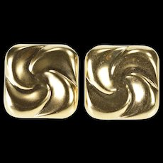 14K Square Puffy Retro Twist Spiral Design Stud Earrings Yellow Gold  [QWQC]