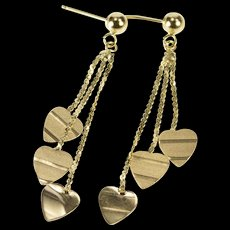14K Textured Dangle Heart Fringe Chain Fashion Earrings Yellow Gold  [QWQC]