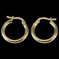 14K Simple Classic Round Hollow Fashion Hoop Earrings Yellow Gold  [QWQC]