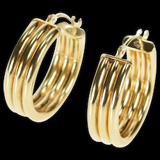 14K Grooved Tripled Design Fashion Hoop Earrings Yellow Gold  [QWQC]