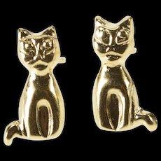 14K Stylized Kitten Kitty Cat Fashion Stud Earrings Yellow Gold  [QWQC]