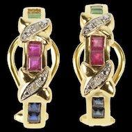 14K Ruby Emerald Sapphire Diamond Ornate Semi Hoop Pendant Yellow Gold [QRXP]