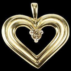 10K Diamond Solitiare Tiered Heart Design Anniversary Pendant Yellow Gold  [QWQC]