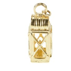 14K 3D Ornate Lantern Candle Light Charm/Pendant Yellow Gold [QRXP]