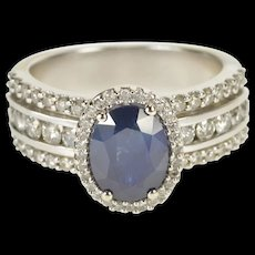 14K 3.10 Ctw Oval Sapphire Diamond Engagement Ring Size 6 White Gold [QWQC]