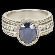 14K 3.10 Ctw Oval Sapphire Diamond Engagement Ring Size 6 White Gold [QRXP]