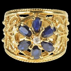 10K 1.50 Ctw Floral Oval Sapphire Diamond Filigree Ring Size 8 Yellow Gold [QWQC]