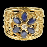 10K 1.50 Ctw Floral Oval Sapphire Diamond Filigree Ring Size 8 Yellow Gold [QRQX]