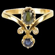 18K 0.80Ctw Victorian Sapphire Diamond Engagement Ring Size 6.25 Yellow Gold [QRXP]