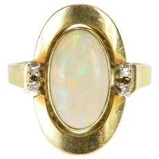14K Retro Ornate Natural Opal Diamond Accent Ring Size 7.5 Yellow Gold [QWQC]