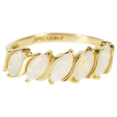 14K Marquise Natural Opal Wave Design Band Ring Size 6.25 Yellow Gold [QWQC]