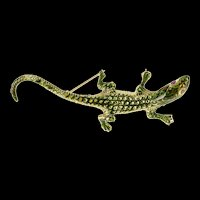 14K Ornate 3D Crocodile Green Enamel Fashion Pin/Brooch Yellow Gold [QRQX]