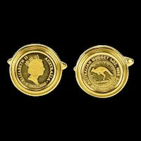 18K 1989 Australia 1/20 oz Proof Nugget Ornate Cuff Links Yellow Gold [QRQX]