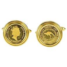 18K 1989 Australia 1/20 oz Proof Nugget Ornate Cuff Links Yellow Gold [QRQX]