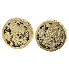 14K Ornate Round Floral Grape Bunch Design Cuff Links Yellow Gold  [QRXQ]