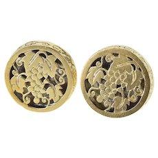 14K Ornate Round Floral Grape Bunch Design Cuff Links Yellow Gold [QRQX]