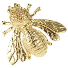 14K 3D Ornate Bumble Honey Bee Insect Pin/Brooch Yellow Gold  [QRXQ]