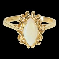 10K Marquise Natural Opal Ornate Engagement Ring Size 7 Yellow Gold [QRQX]