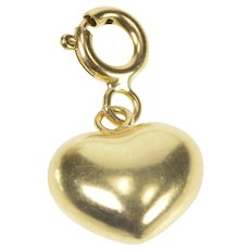 14K Puffy Cute Heart Love Valentine Anniversary Charm/Pendant Yellow Gold  [QRXC]