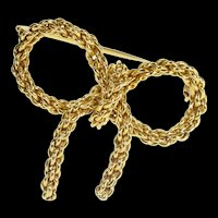 18K Ornate Retro Chain Design Bow Ribbon Fashion Pin/Brooch Yellow Gold [QRQX]