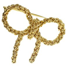 18K Ornate Retro Chain Design Bow Ribbon Fashion Pin/Brooch Yellow Gold [QRQX]