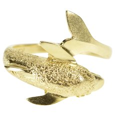 14K Textured Wrap Dolphin Bypass Beach Motif Ring Size 5.5 Yellow Gold [QWQC]