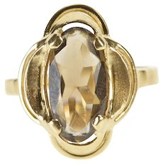 10K 1960's Oval Smoky Quartz Ornate Cocktail Ring Size 6.75 Yellow Gold [QWQC]